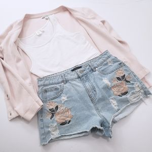 High Rise Embroidered Distressed Denim Shorts F21